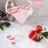 El cóctel de martini de la hierbabuena con el coco forma escamas borde Fotografía de archivo