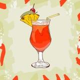 El cóctel del bosquejo del sacador del plantador, del ron oscuro, jugo de la naranja y de piña, jarabe de azúcar, granadina, limó ilustración del vector