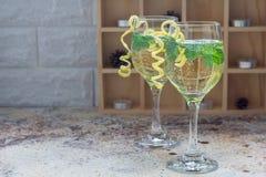 El cóctel del Spritzer con el vino blanco, la menta y el hielo, adornados con ánimo de limón espiral, copia el espacio Fotografía de archivo
