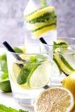 El cóctel no virginal sano del mojito del verano, fruta cítrica infundió las bebidas del agua, limonadas con el limón de la cal o imágenes de archivo libres de regalías