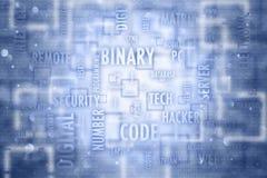 El código binario conceptual redacta el fondo del ejemplo de la nube stock de ilustración