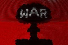 El código binario de una explosión nuclear significa la guerra cibernética Fotos de archivo