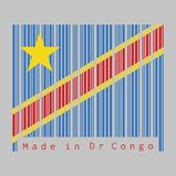 El código de barras fijó el color de la bandera del Dr. Congo, campo del azul de cielo con la raya y la estrella diagonalmente ro libre illustration
