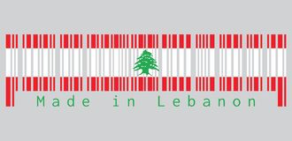 El código de barras fijó el color de la bandera de Líbano, el triband de rojo y el blanco, encargados de un cedro verde de Líbano ilustración del vector