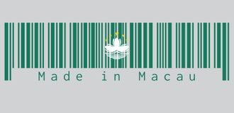 El código de barras fijó el color de la bandera de Macao, se pone verde con un loto y un gobernador estilizado Nobre de Carvalho  ilustración del vector