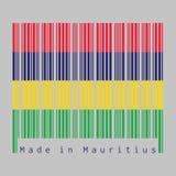 El código de barras fijó el color de la bandera de Mauricio, cuatro bandas horizontales de amarillo azul y verde rojos stock de ilustración