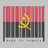 El código de barras fijaron el color de la bandera de Angola, rojo y negro con el emblema del machete y del engranaje en fondo gr libre illustration