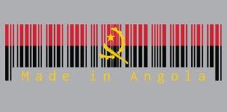 El código de barras fijaron el color de la bandera de Angola, rojo y negro con el emblema del machete y del engranaje en fondo gr stock de ilustración