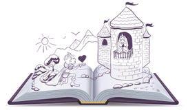 El caballero se está arrodillando delante de princesa en castillo Abra el libro stock de ilustración