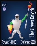 El caballero verde Players Card Illustration Fotos de archivo