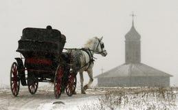 El caballo con el carro se mueve a lo largo del camino del invierno en un fondo de un edificio viejo Fotografía de archivo libre de regalías