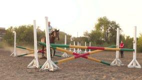 El caballo está saltando a través de una barrera en la competencia almacen de video