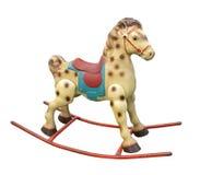 El caballo mecedora del viejo niño aislado. foto de archivo