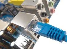 El cable de la red está conectado con el ordenador Fotografía de archivo libre de regalías