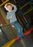 El cabrito que salta en el trampolín Fotografía de archivo libre de regalías