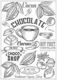 El cacao, cacao, sistema del vector del chocolate del postre condimenta logotipos, etiquetas, insignias y diseño Imágenes de archivo libres de regalías