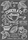 El cacao, cacao, sistema del vector del chocolate del postre condimenta logotipos, etiquetas, insignias y elementos del diseño Te fotos de archivo libres de regalías