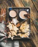 El cacao en tazas con las galletas de la Navidad, pedazos de Stollen se apelmaza Foto de archivo