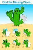 El cactus de la historieta de los niños encuentra el rompecabezas que falta del pedazo