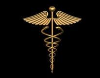 El caduceo médico firma adentro el oro Foto de archivo libre de regalías