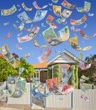 El caer australiana del dinero de la casa Fotografía de archivo