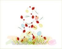 El caer colorida hermosa de los huevos de Pascua Foto de archivo libre de regalías