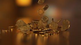 El caer de Bitcoins Imagen de archivo libre de regalías