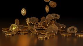 El caer de Bitcoins Fotografía de archivo libre de regalías