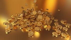 El caer de Bitcoins Imagenes de archivo