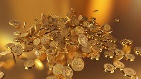 El caer de Bitcoins Imágenes de archivo libres de regalías