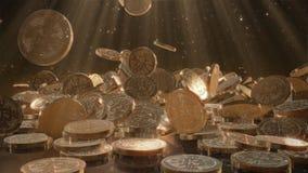 El caer de Bitcoins Fotos de archivo