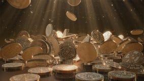El caer de Bitcoins Fotos de archivo libres de regalías