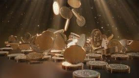 El caer de Bitcoins Foto de archivo libre de regalías