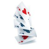 El caer de la tarjeta que juega Foto de archivo libre de regalías