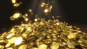 El caer de las monedas de la cámara lenta