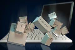 El caer de los claves de teclado Imagen de archivo