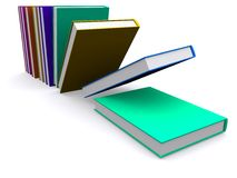 el caer de los libros 3d Imagen de archivo