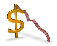 El caer del dólar Foto de archivo libre de regalías