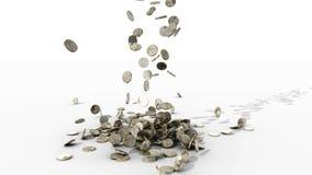 El caer del dinero monedas almacen de metraje de vídeo