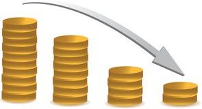 El caer del gráfico de la moneda Foto de archivo libre de regalías