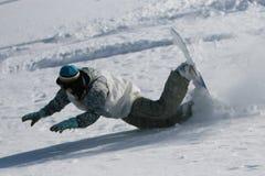 El caer del Snowboarder Imágenes de archivo libres de regalías