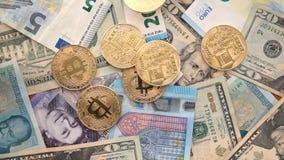El caer euro de la cámara lenta de la UE de la libra BRITÁNICA de los dólares de EE. UU. de Bitcoin metrajes
