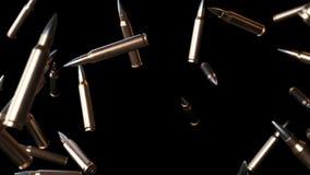 El caer grande de las balas en negro con Luma Matte Seamless Looping Background 4K stock de ilustración