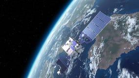El caer por satélite quebrada a la tierra ilustración del vector