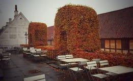 El café al aire libre de la ciudad vieja, Aarhus Dinamarca imagen de archivo