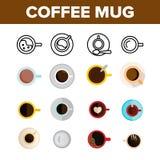 El café asalta el sistema de los iconos del color del vector de la visión superior ilustración del vector