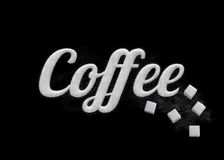 El café de la palabra escrito por los granos del azúcar Foto de archivo