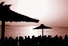El café Del Mar, Ibiza de la puesta del sol @ Fotografía de archivo libre de regalías