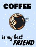 El café es mi cartel del mejor amigo con la taza de café Postal exhausta del estilo de la historieta de la mano libre illustration
