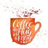 El café es un abrazo en una taza stock de ilustración